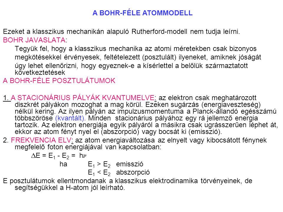 Ezeket a klasszikus mechanikán alapuló Rutherford-modell nem tudja leírni. BOHR JAVASLATA: Tegyük fel, hogy a klasszikus mechanika az atomi méretekben