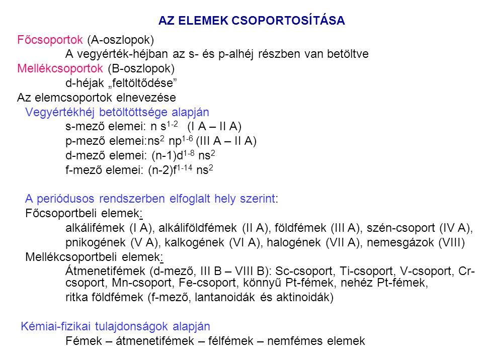 """AZ ELEMEK CSOPORTOSÍTÁSA Főcsoportok (A-oszlopok) A vegyérték-héjban az s- és p-alhéj részben van betöltve Mellékcsoportok (B-oszlopok) d-héjak """"feltöltődése Az elemcsoportok elnevezése Vegyértékhéj betöltöttsége alapján s-mező elemei: n s 1-2 (I A – II A) p-mező elemei:ns 2 np 1-6 (III A – II A) d-mező elemei: (n-1)d 1-8 ns 2 f-mező elemei: (n-2)f 1-14 ns 2 A periódusos rendszerben elfoglalt hely szerint: Főcsoportbeli elemek: alkálifémek (I A), alkáliföldfémek (II A), földfémek (III A), szén-csoport (IV A), pnikogének (V A), kalkogének (VI A), halogének (VII A), nemesgázok (VIII) Mellékcsoportbeli elemek: Átmenetifémek (d-mező, III B – VIII B): Sc-csoport, Ti-csoport, V-csoport, Cr- csoport, Mn-csoport, Fe-csoport, könnyű Pt-fémek, nehéz Pt-fémek, ritka földfémek (f-mező, lantanoidák és aktinoidák) Kémiai-fizikai tulajdonságok alapján Fémek – átmenetifémek – félfémek – nemfémes elemek"""