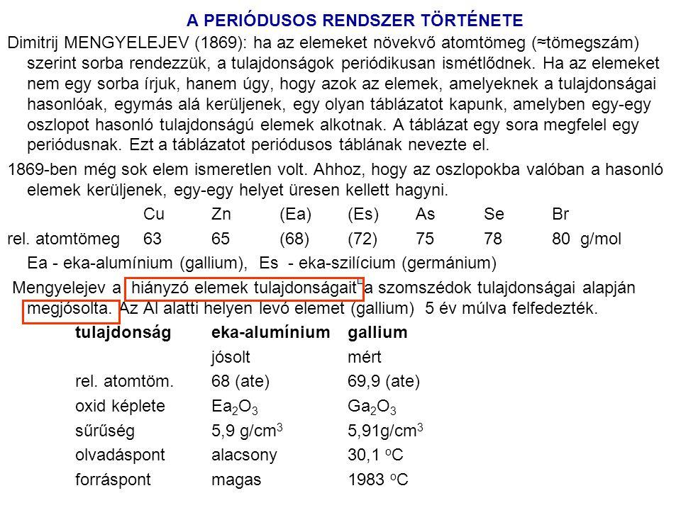 A PERIÓDUSOS RENDSZER TÖRTÉNETE Dimitrij MENGYELEJEV (1869): ha az elemeket növekvő atomtömeg (≈tömegszám) szerint sorba rendezzük, a tulajdonságok pe
