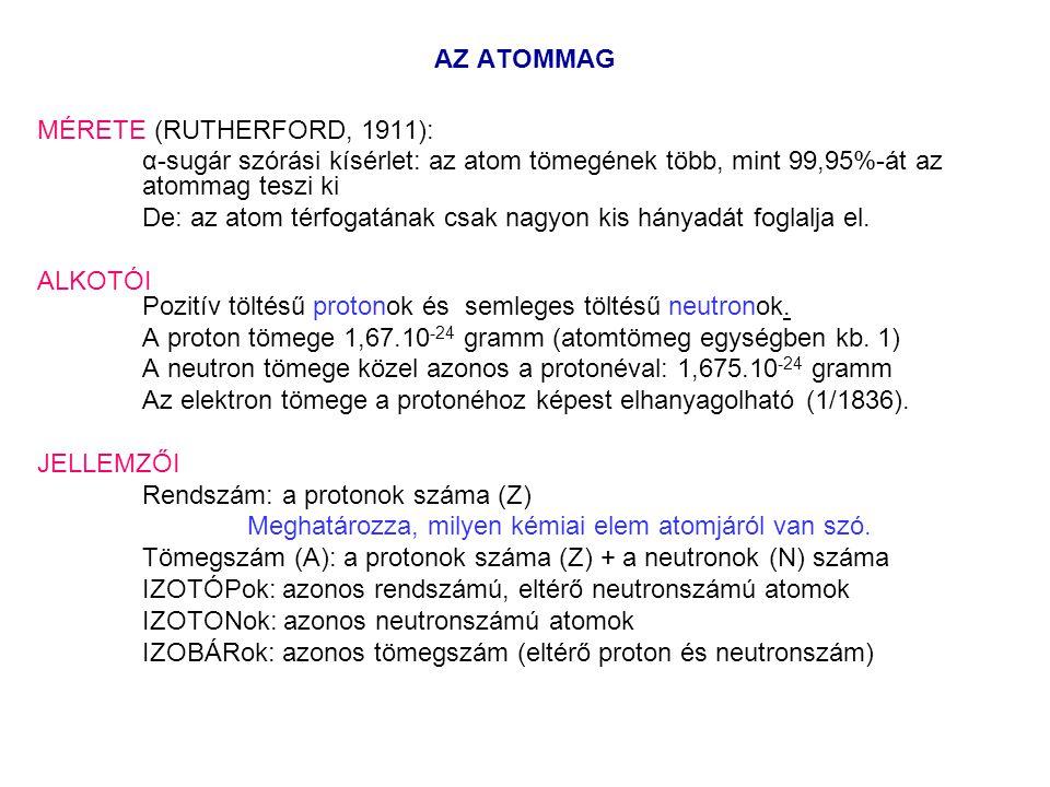 AZ ATOMMAG MÉRETE (RUTHERFORD, 1911): α-sugár szórási kísérlet: az atom tömegének több, mint 99,95%-át az atommag teszi ki De: az atom térfogatának csak nagyon kis hányadát foglalja el.