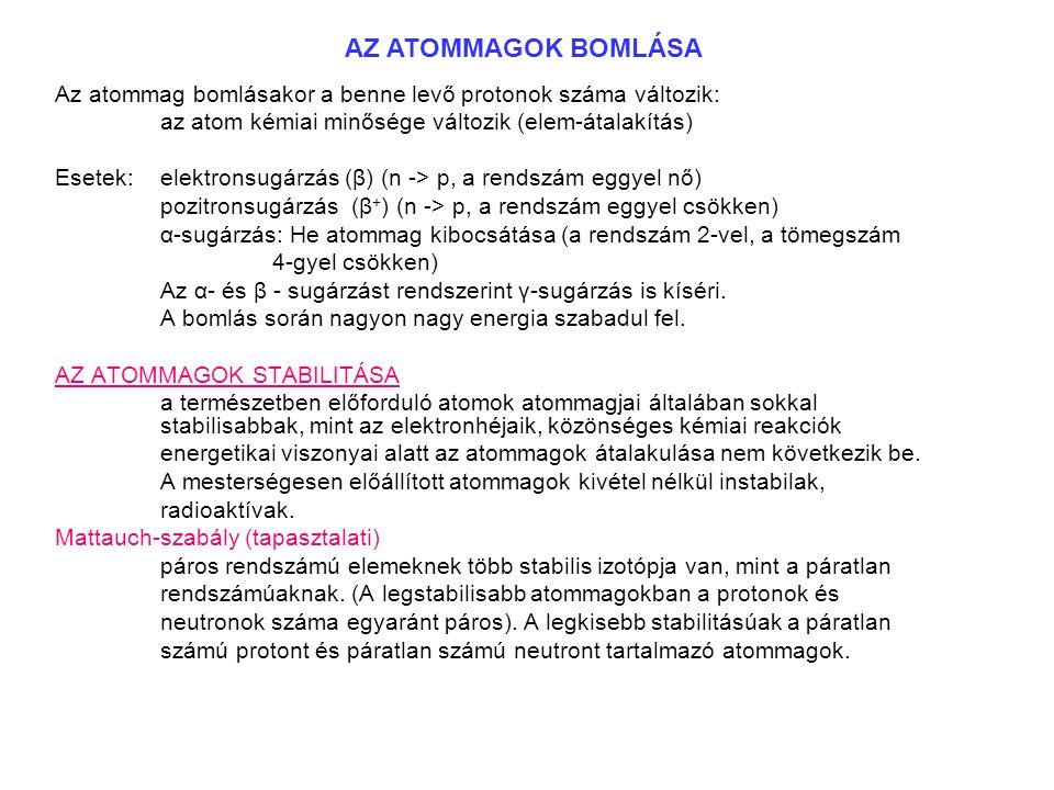 Az atommag bomlásakor a benne levő protonok száma változik: az atom kémiai minősége változik (elem-átalakítás) Esetek: elektronsugárzás (β) (n -> p, a rendszám eggyel nő) pozitronsugárzás (β + ) (n -> p, a rendszám eggyel csökken) α-sugárzás: He atommag kibocsátása (a rendszám 2-vel, a tömegszám 4-gyel csökken) Az α- és β - sugárzást rendszerint γ-sugárzás is kíséri.