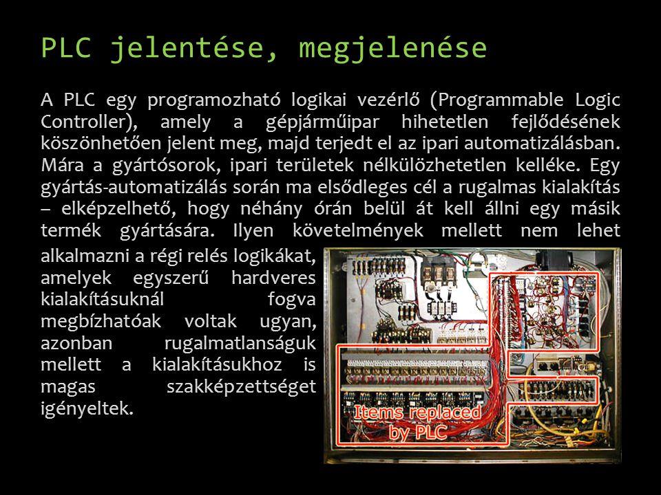 PLC jelentése, megjelenése A PLC egy programozható logikai vezérlő (Programmable Logic Controller), amely a gépjárműipar hihetetlen fejlődésének köszö