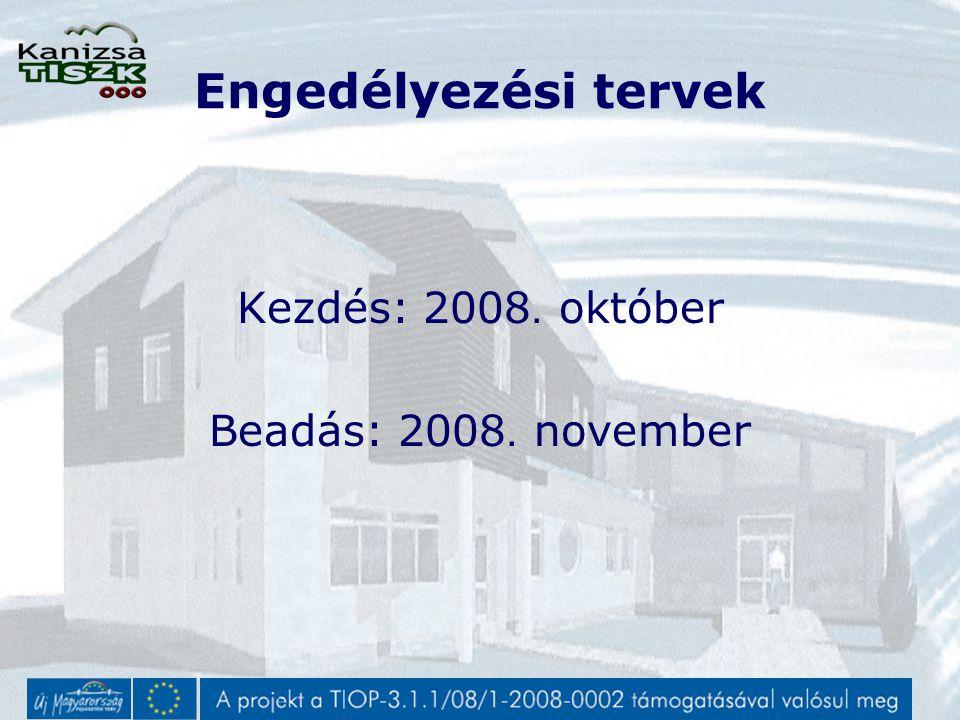 Engedélyezési tervek Kezdés: 2008. október Beadás: 2008. november