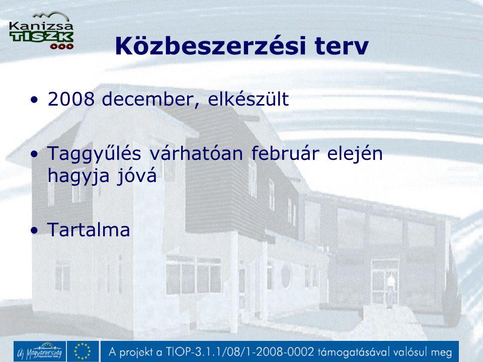 Közbeszerzési terv 2008 december, elkészült Taggyűlés várhatóan február elején hagyja jóvá Tartalma