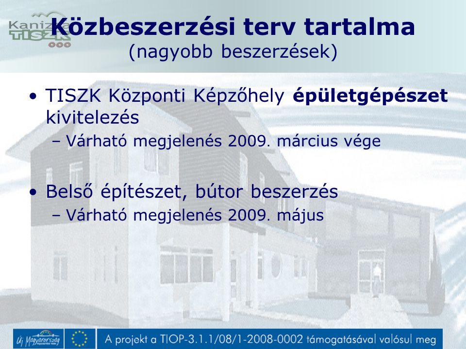 TISZK Központi Képzőhely épületgépészet kivitelezés –Várható megjelenés 2009.