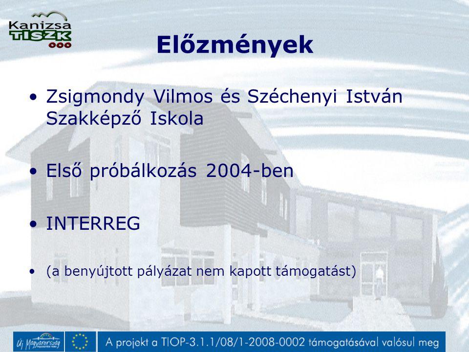 Előzmények Zsigmondy Vilmos és Széchenyi István Szakképző Iskola Első próbálkozás 2004-ben INTERREG (a benyújtott pályázat nem kapott támogatást)