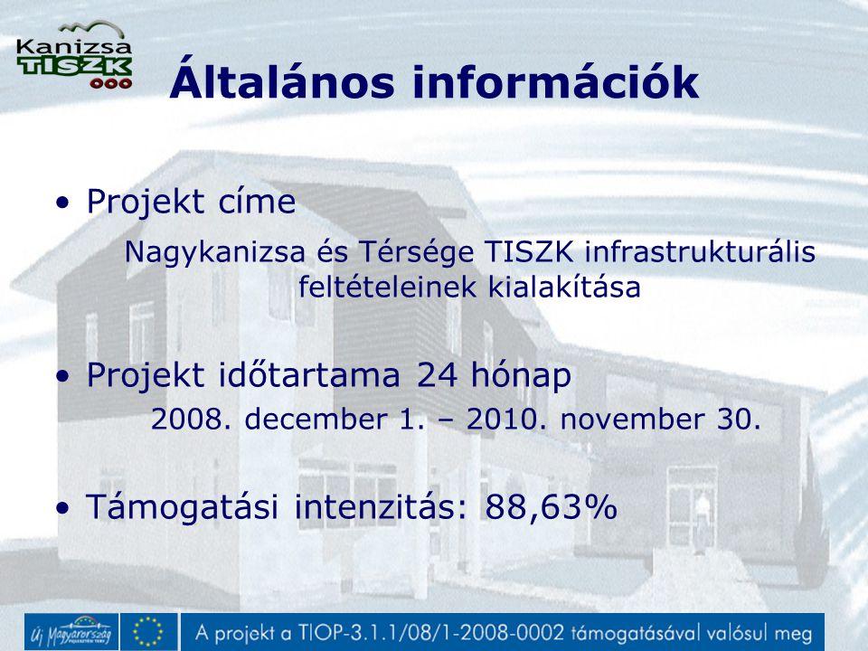 Általános információk Projekt címe Nagykanizsa és Térsége TISZK infrastrukturális feltételeinek kialakítása Projekt időtartama 24 hónap 2008.