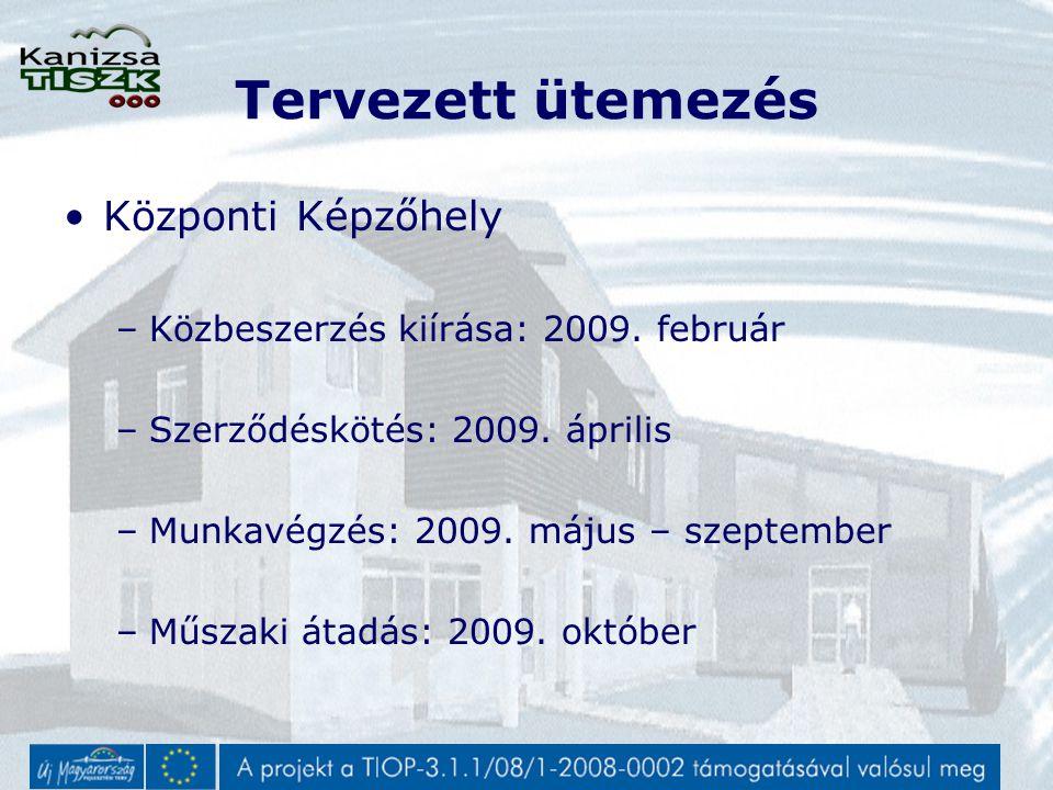 Tervezett ütemezés Központi Képzőhely –Közbeszerzés kiírása: 2009.