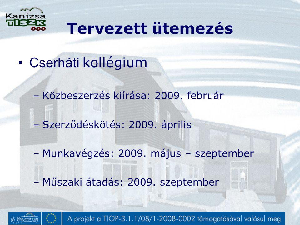 Tervezett ütemezés Cserháti kollégium –Közbeszerzés kiírása: 2009.