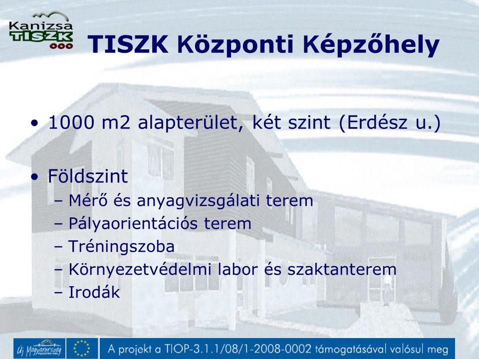 TISZK K özponti K épzőhely 1000 m2 alapterület, két szint (Erdész u.) Földszint –Mérő és anyagvizsgálati terem –Pályaorientációs terem –Tréningszoba –Környezetvédelmi labor és szaktanterem –Irodák