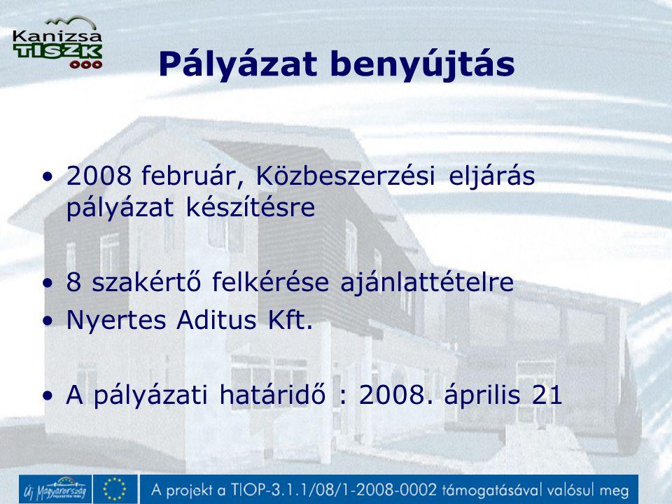 Pályázat benyújtás 2008 február, Közbeszerzési eljárás pályázat készítésre 8 szakértő felkérése ajánlattételre Nyertes Aditus Kft.