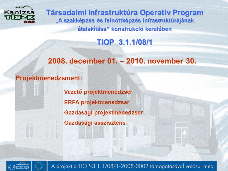 2008. december 01. – 2010. november 30. Projektmenedzsment: Vezető projektmenedzser ERFA projektmenedzser Gazdasági projektmenedzser Gazdasági asszisz