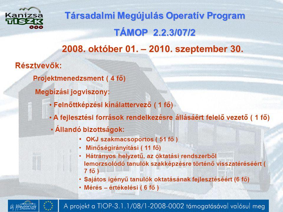 2008. október 01. – 2010. szeptember 30. Résztvevők: Projektmenedzsment ( 4 fő) Megbízási jogviszony: Felnőttképzési kínálattervező ( 1 fő) A fejleszt