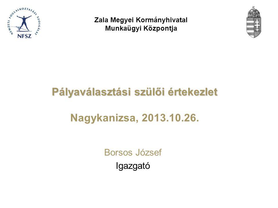 Pályaválasztási szülői értekezlet Pályaválasztási szülői értekezlet Nagykanizsa, 2013.10.26.