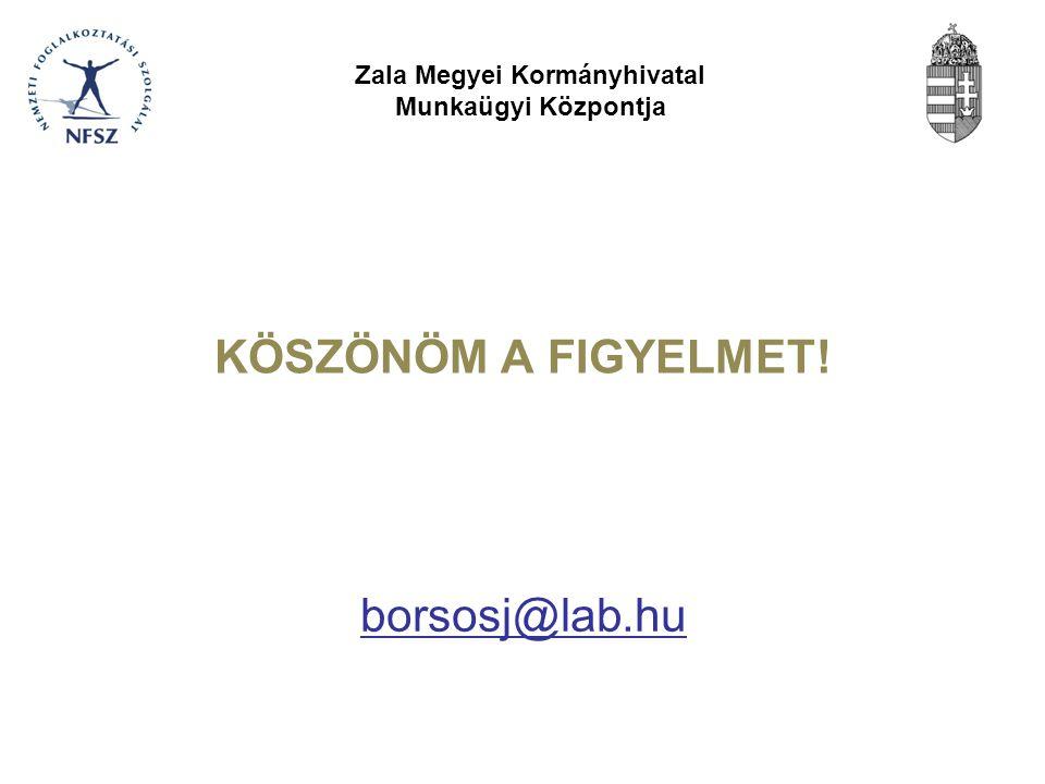 KÖSZÖNÖM A FIGYELMET! Zala Megyei Kormányhivatal Munkaügyi Központja borsosj@lab.hu