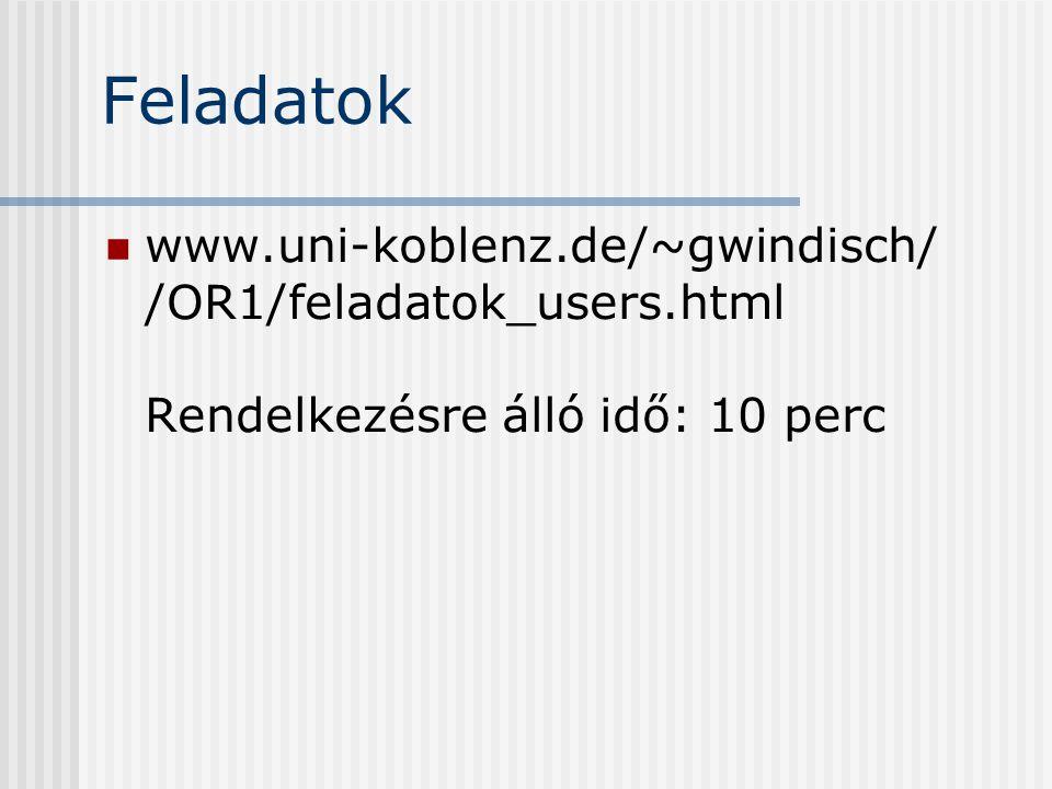 Feladatok www.uni-koblenz.de/~gwindisch/ /OR1/feladatok_users.html Rendelkezésre álló idő: 10 perc