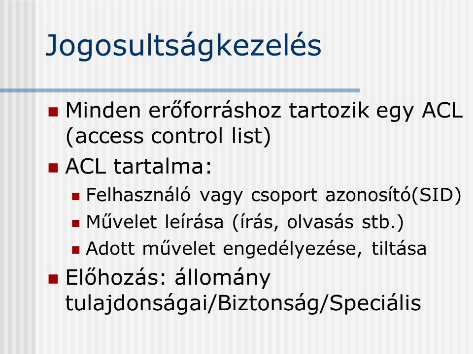 Jogosultságkezelés Minden erőforráshoz tartozik egy ACL (access control list) ACL tartalma: Felhasználó vagy csoport azonosító(SID) Művelet leírása (írás, olvasás stb.) Adott művelet engedélyezése, tiltása Előhozás: állomány tulajdonságai/Biztonság/Speciális