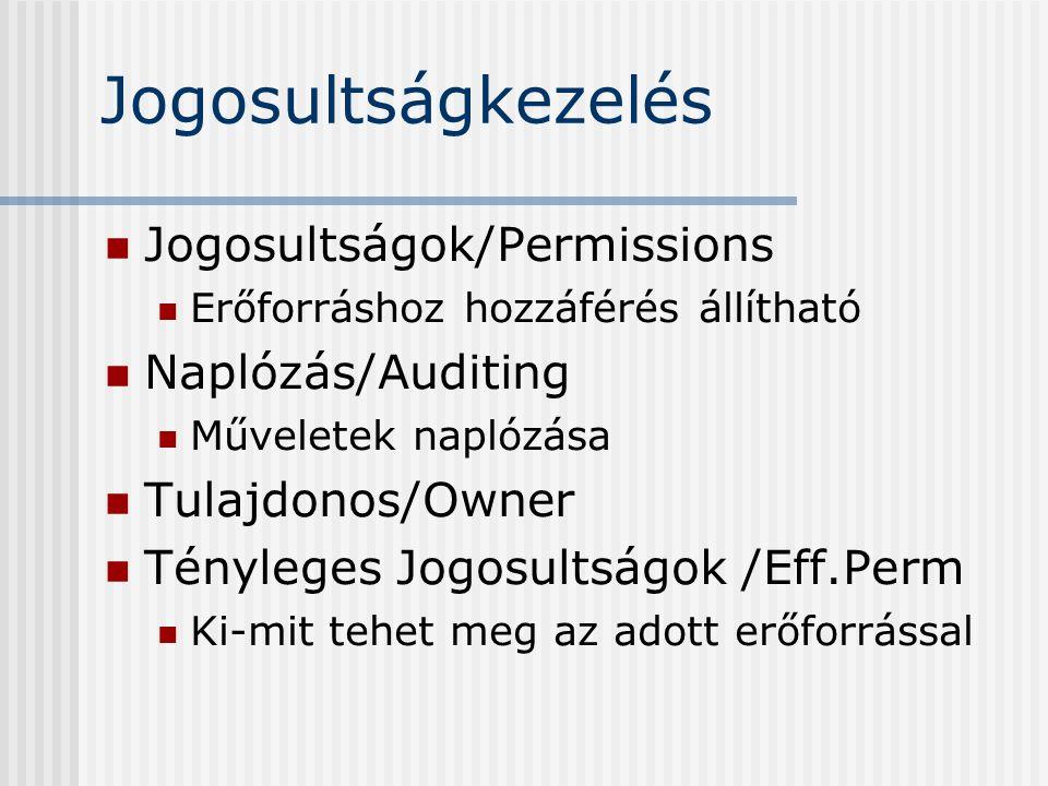 Jogosultságkezelés Jogosultságok/Permissions Erőforráshoz hozzáférés állítható Naplózás/Auditing Műveletek naplózása Tulajdonos/Owner Tényleges Jogosultságok /Eff.Perm Ki-mit tehet meg az adott erőforrással