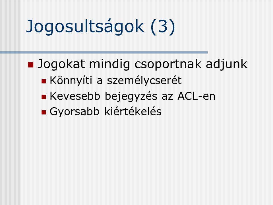 Jogosultságok (3) Jogokat mindig csoportnak adjunk Könnyíti a személycserét Kevesebb bejegyzés az ACL-en Gyorsabb kiértékelés