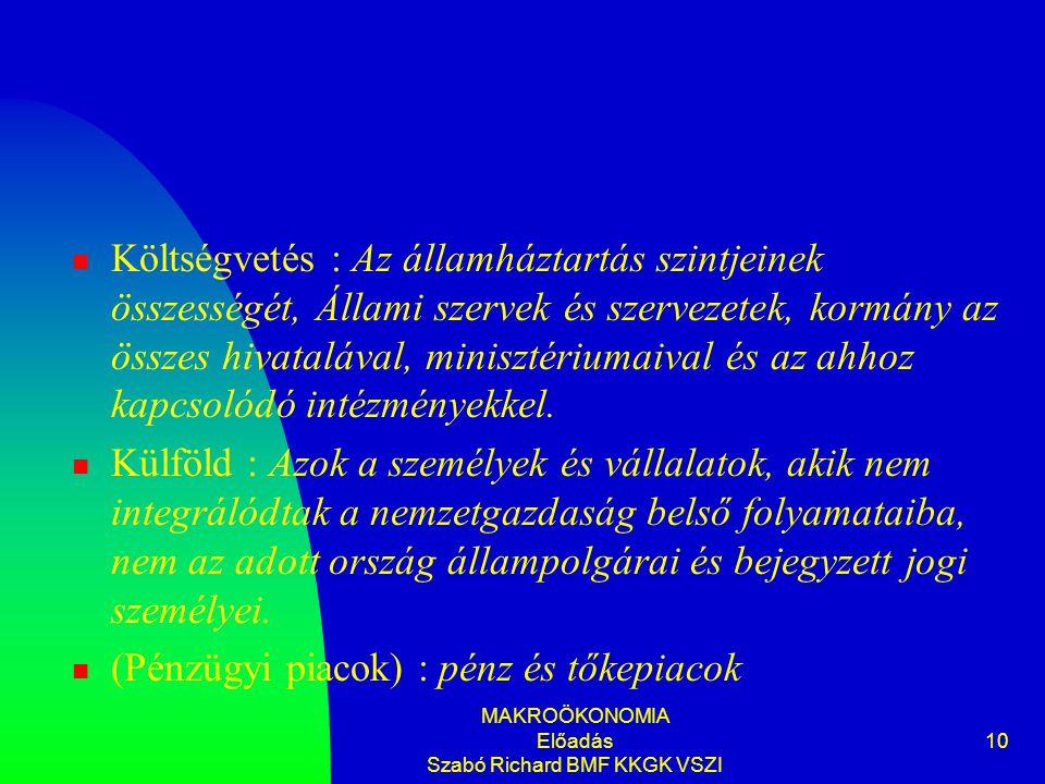 MAKROÖKONOMIA Előadás Szabó Richard BMF KKGK VSZI 10 Költségvetés : Az államháztartás szintjeinek összességét, Állami szervek és szervezetek, kormány