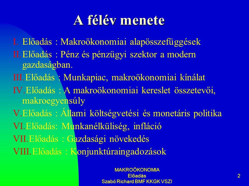 MAKROÖKONOMIA Előadás Szabó Richard BMF KKGK VSZI 2 A félév menete I.Előadás : Makroökonomiai alapösszefüggések II.Előadás : Pénz és pénzügyi szektor