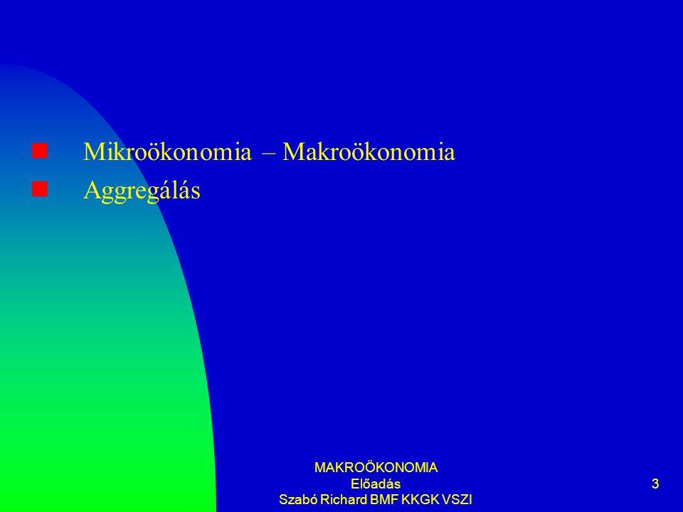 MAKROÖKONOMIA Előadás Szabó Richard BMF KKGK VSZI 3 Mikroökonomia – Makroökonomia Aggregálás
