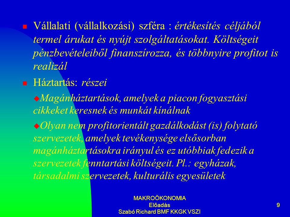 MAKROÖKONOMIA Előadás Szabó Richard BMF KKGK VSZI 9 Vállalati (vállalkozási) szféra : értékesítés céljából termel árukat és nyújt szolgáltatásokat. Kö