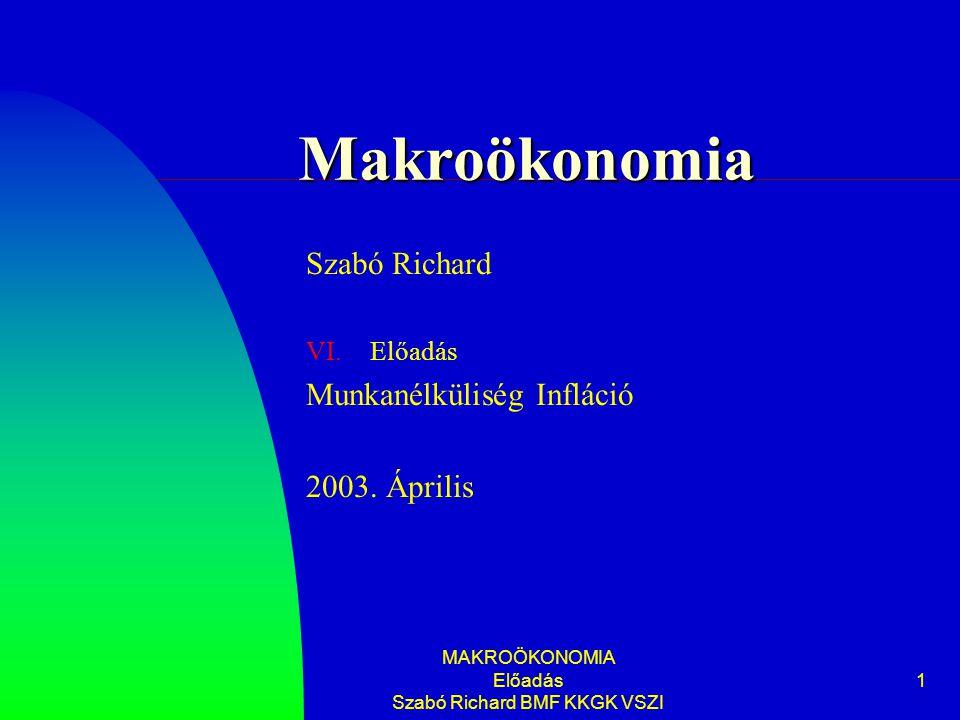 MAKROÖKONOMIA Előadás Szabó Richard BMF KKGK VSZI 1 Makroökonomia Szabó Richard VI.Előadás Munkanélküliség Infláció 2003.