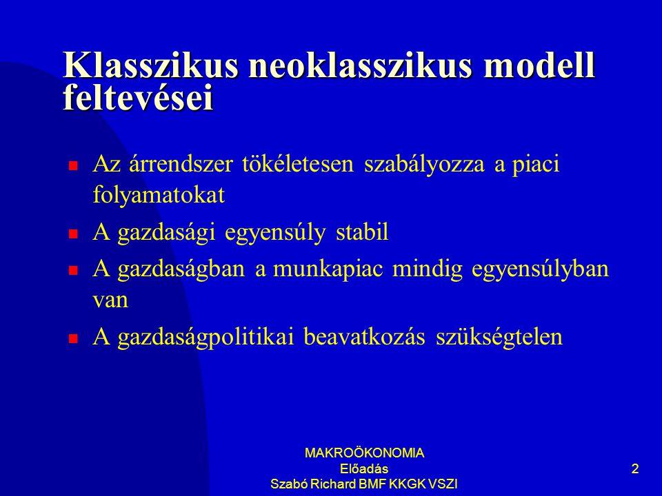 MAKROÖKONOMIA Előadás Szabó Richard BMF KKGK VSZI 2 Klasszikus neoklasszikus modell feltevései Az árrendszer tökéletesen szabályozza a piaci folyamatokat A gazdasági egyensúly stabil A gazdaságban a munkapiac mindig egyensúlyban van A gazdaságpolitikai beavatkozás szükségtelen