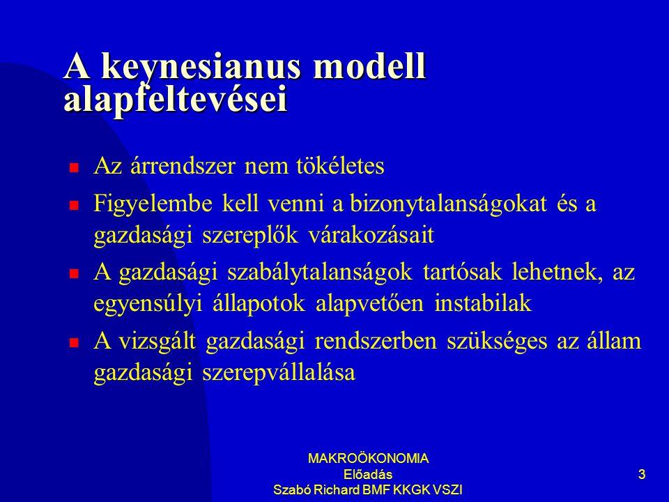 MAKROÖKONOMIA Előadás Szabó Richard BMF KKGK VSZI 3 A keynesianus modell alapfeltevései Az árrendszer nem tökéletes Figyelembe kell venni a bizonytalanságokat és a gazdasági szereplők várakozásait A gazdasági szabálytalanságok tartósak lehetnek, az egyensúlyi állapotok alapvetően instabilak A vizsgált gazdasági rendszerben szükséges az állam gazdasági szerepvállalása