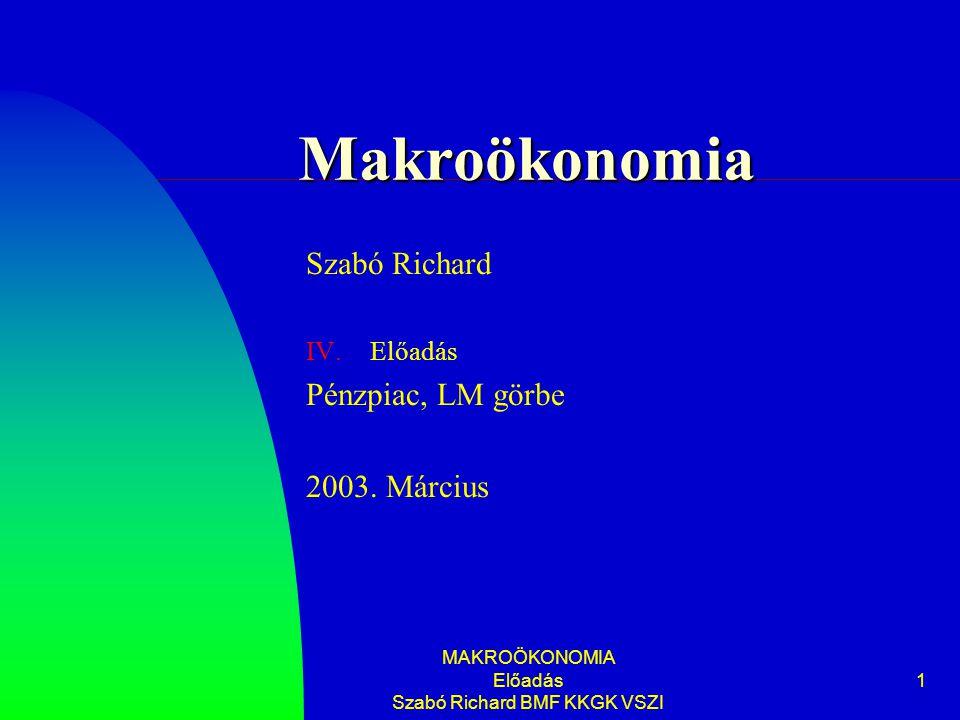 MAKROÖKONOMIA Előadás Szabó Richard BMF KKGK VSZI 1 Makroökonomia Szabó Richard IV.Előadás Pénzpiac, LM görbe 2003.