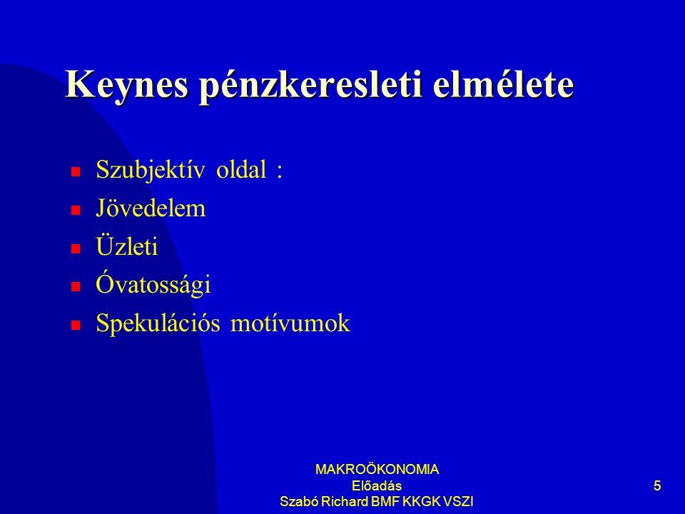 MAKROÖKONOMIA Előadás Szabó Richard BMF KKGK VSZI 5 Keynes pénzkeresleti elmélete Szubjektív oldal : Jövedelem Üzleti Óvatossági Spekulációs motívumok