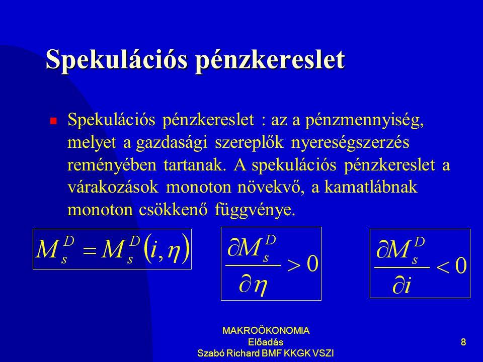 MAKROÖKONOMIA Előadás Szabó Richard BMF KKGK VSZI 8 Spekulációs pénzkereslet Spekulációs pénzkereslet : az a pénzmennyiség, melyet a gazdasági szereplők nyereségszerzés reményében tartanak.