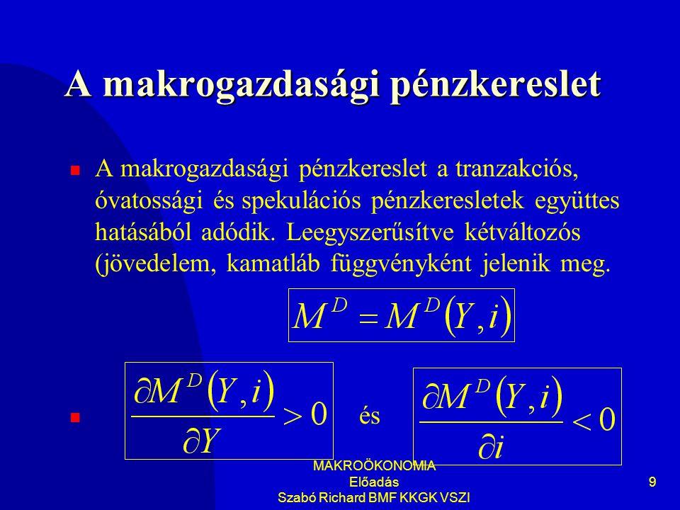 MAKROÖKONOMIA Előadás Szabó Richard BMF KKGK VSZI 9 A makrogazdasági pénzkereslet A makrogazdasági pénzkereslet a tranzakciós, óvatossági és spekulációs pénzkeresletek együttes hatásából adódik.