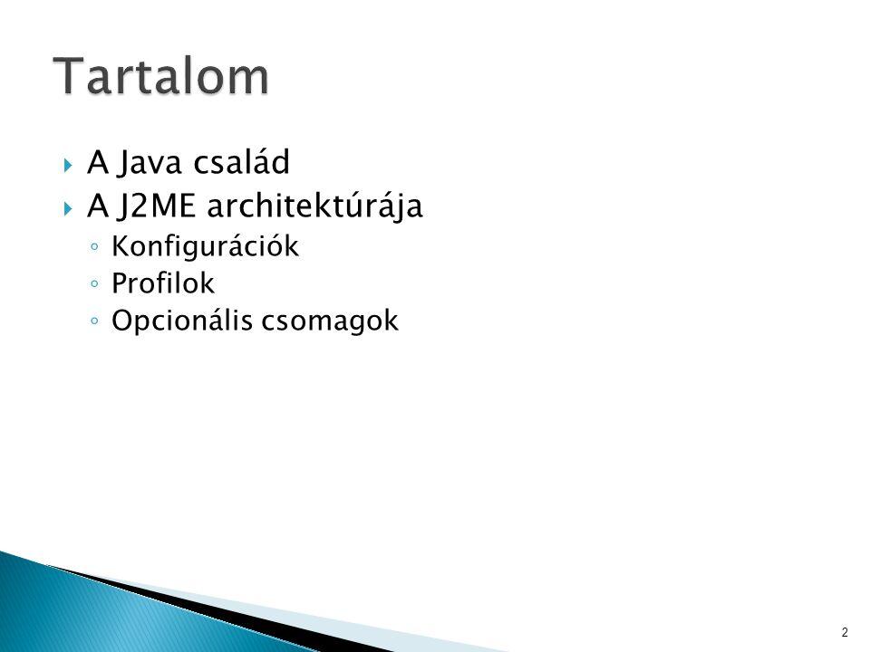  A Java család  A J2ME architektúrája ◦ Konfigurációk ◦ Profilok ◦ Opcionális csomagok 2