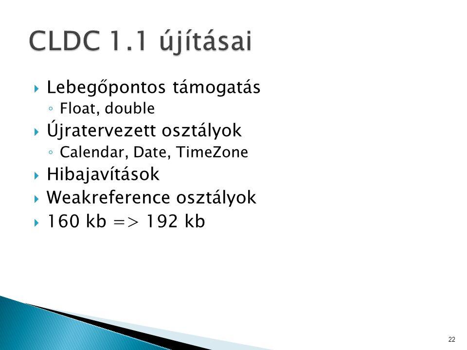  Lebegőpontos támogatás ◦ Float, double  Újratervezett osztályok ◦ Calendar, Date, TimeZone  Hibajavítások  Weakreference osztályok  160 kb => 192 kb 22