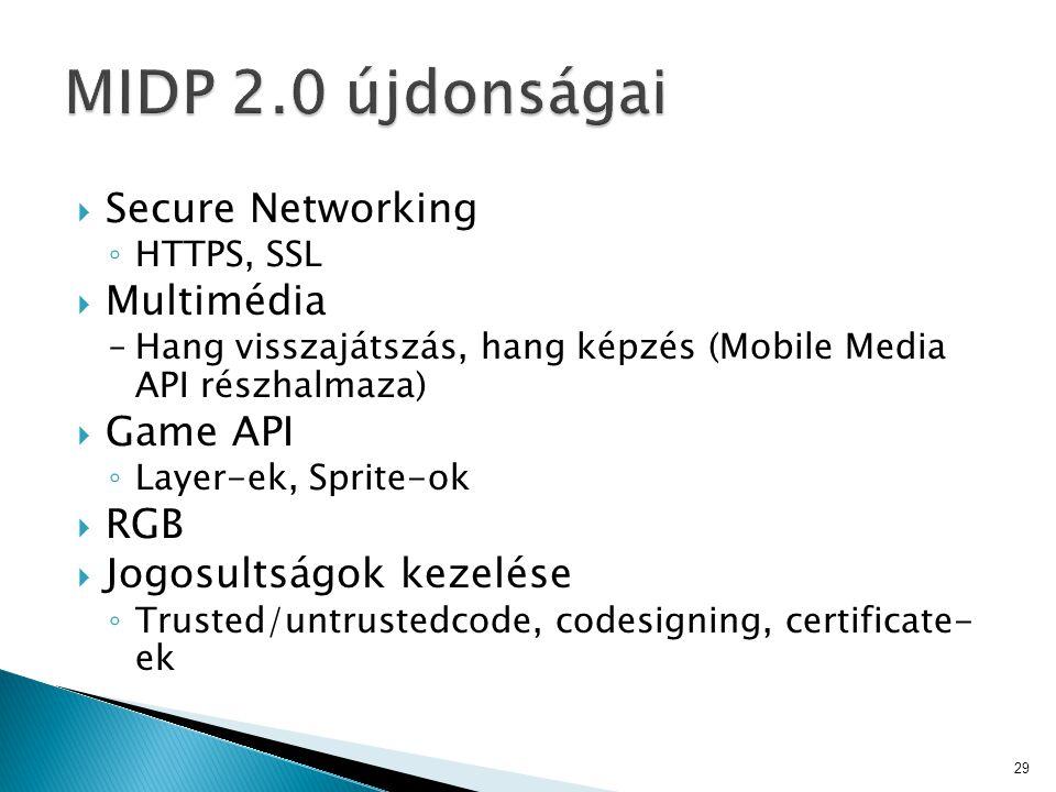  Secure Networking ◦ HTTPS, SSL  Multimédia –Hang visszajátszás, hang képzés (Mobile Media API részhalmaza)  Game API ◦ Layer-ek, Sprite-ok  RGB  Jogosultságok kezelése ◦ Trusted/untrustedcode, codesigning, certificate- ek 29