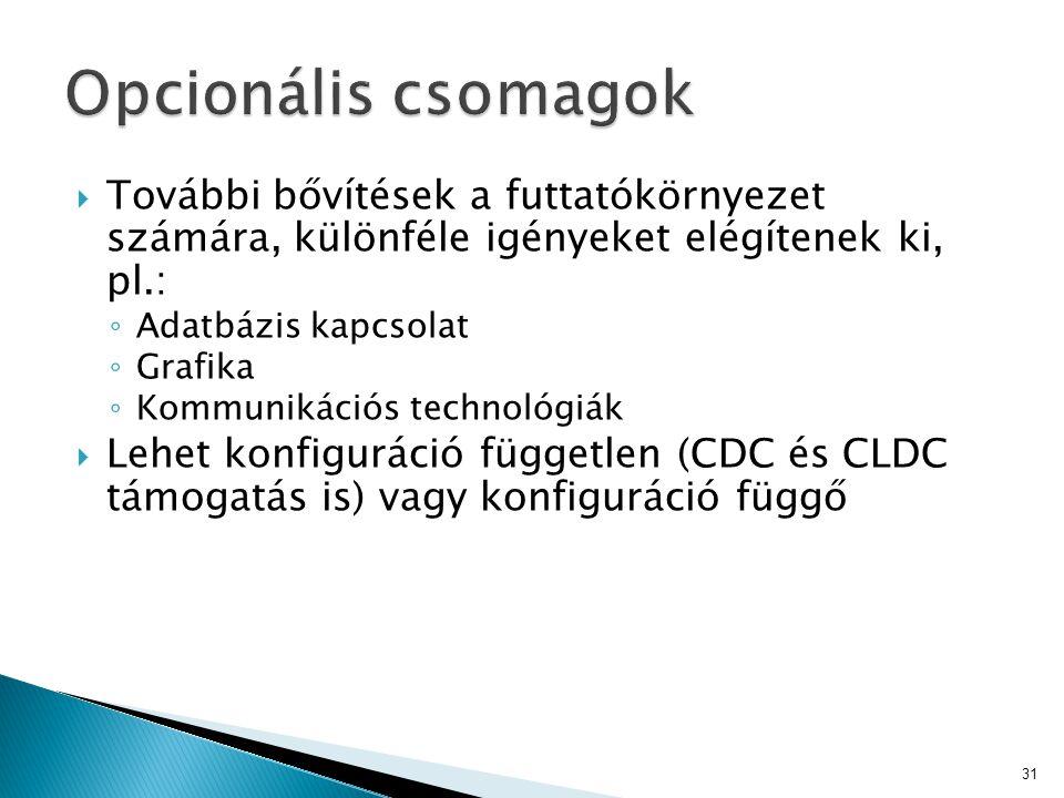 További bővítések a futtatókörnyezet számára, különféle igényeket elégítenek ki, pl.: ◦ Adatbázis kapcsolat ◦ Grafika ◦ Kommunikációs technológiák  Lehet konfiguráció független (CDC és CLDC támogatás is) vagy konfiguráció függő 31