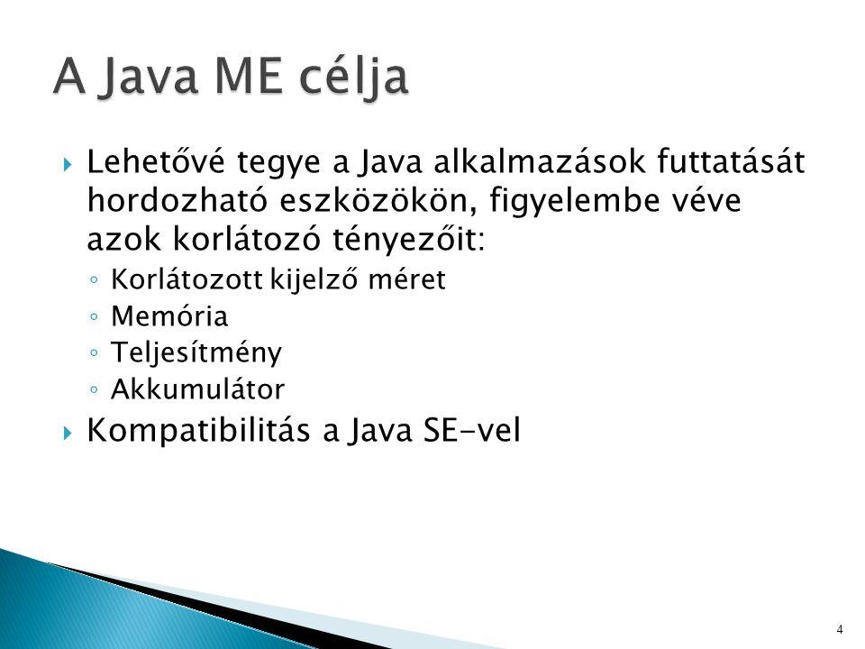  Lehetővé tegye a Java alkalmazások futtatását hordozható eszközökön, figyelembe véve azok korlátozó tényezőit: ◦ Korlátozott kijelző méret ◦ Memória ◦ Teljesítmény ◦ Akkumulátor  Kompatibilitás a Java SE-vel 4