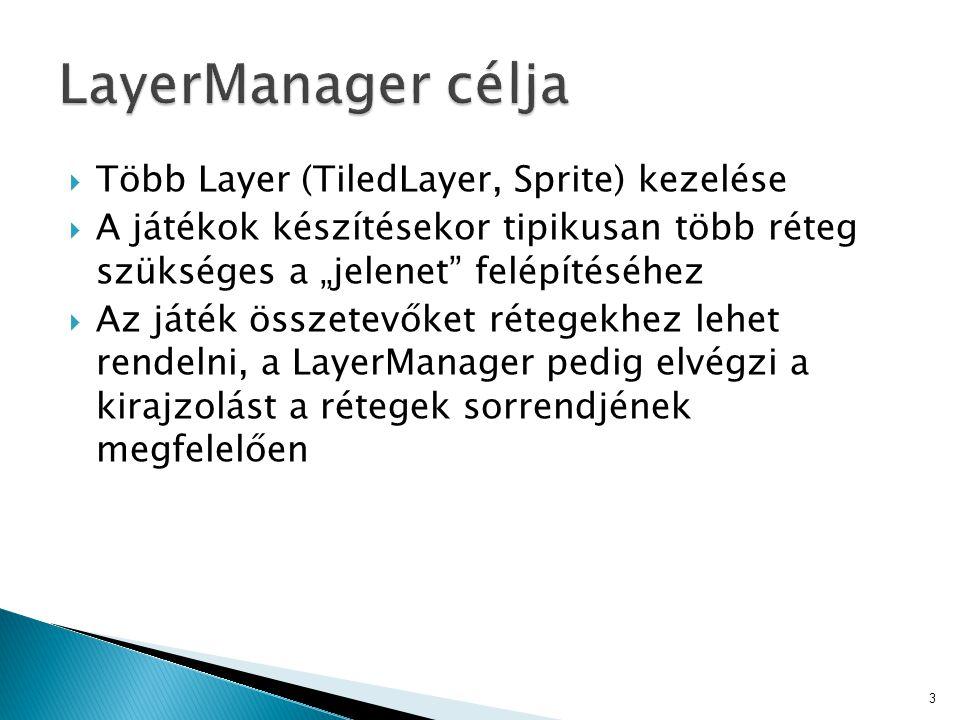 """ Több Layer (TiledLayer, Sprite) kezelése  A játékok készítésekor tipikusan több réteg szükséges a """"jelenet felépítéséhez  Az játék összetevőket rétegekhez lehet rendelni, a LayerManager pedig elvégzi a kirajzolást a rétegek sorrendjének megfelelően 3"""