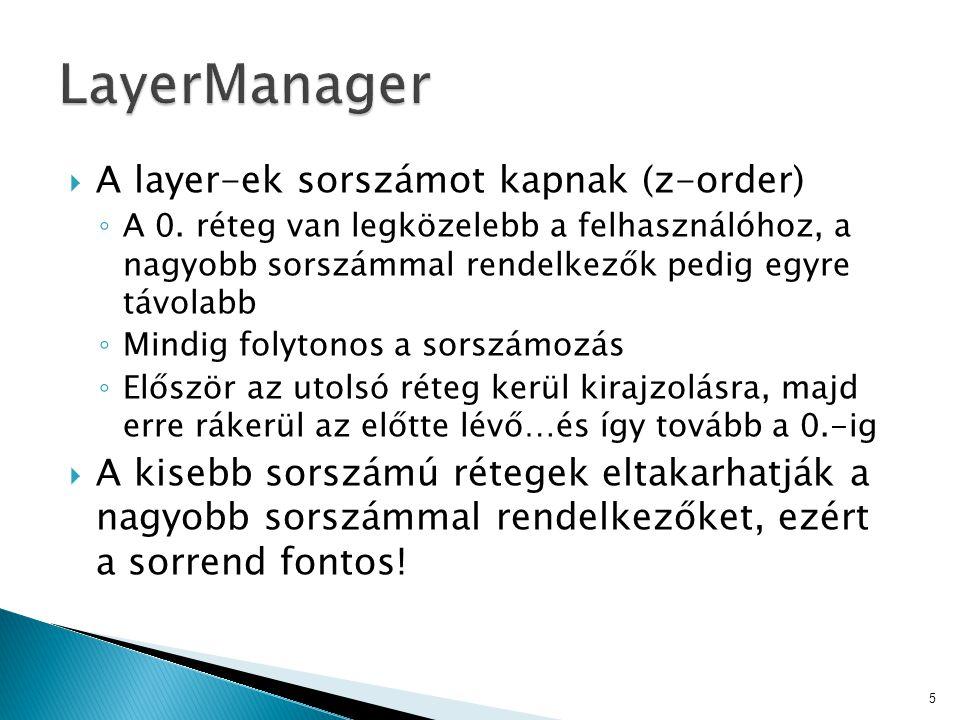  A layer-ek sorszámot kapnak (z-order) ◦ A 0.