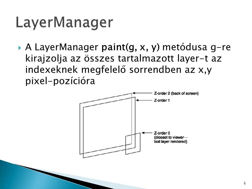  A LayerManager paint(g, x, y) metódusa g-re kirajzolja az összes tartalmazott layer-t az indexeknek megfelelő sorrendben az x,y pixel-pozícióra 6