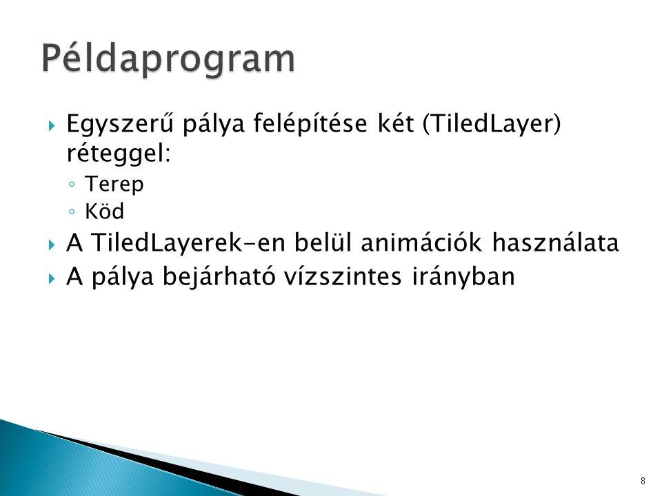  Egyszerű pálya felépítése két (TiledLayer) réteggel: ◦ Terep ◦ Köd  A TiledLayerek-en belül animációk használata  A pálya bejárható vízszintes irányban 8