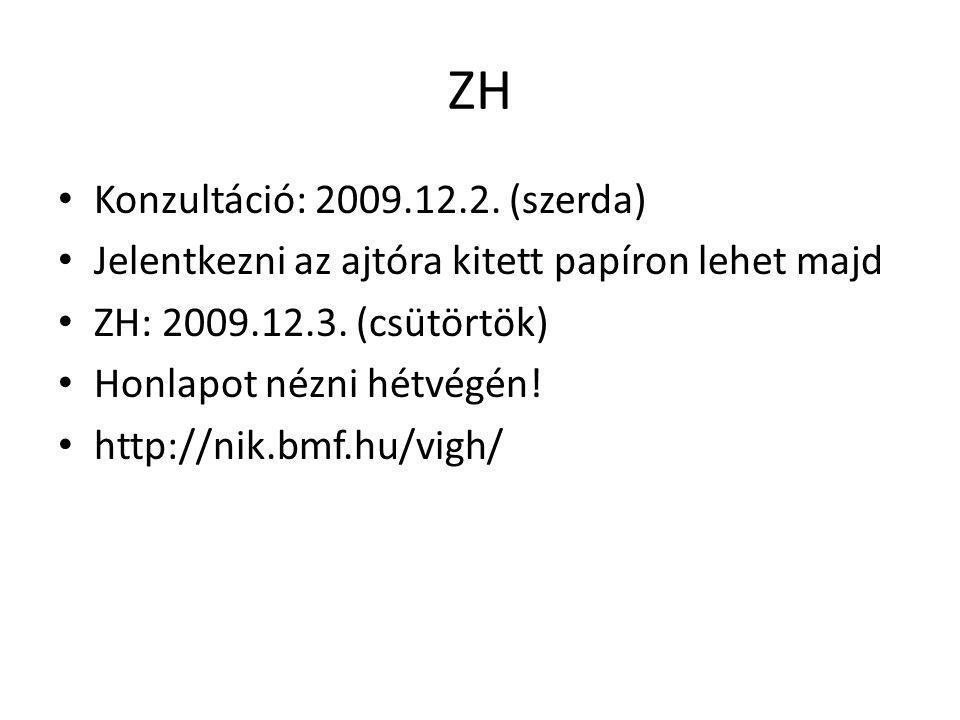 ZH Konzultáció: 2009.12.2. (szerda) Jelentkezni az ajtóra kitett papíron lehet majd ZH: 2009.12.3. (csütörtök) Honlapot nézni hétvégén! http://nik.bmf