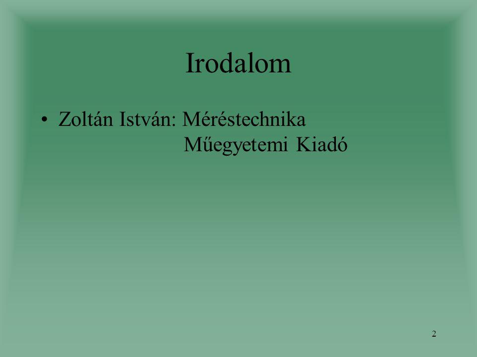 2 Irodalom Zoltán István: Méréstechnika Műegyetemi Kiadó