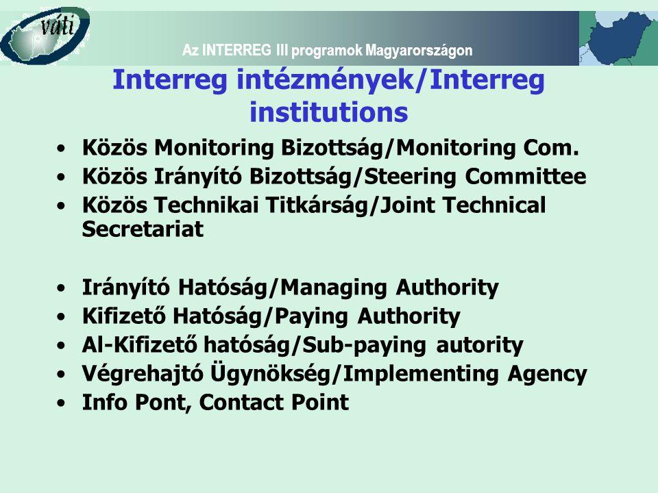 Az INTERREG III programok Magyarországon Interreg intézmények/Interreg institutions Közös Monitoring Bizottság/Monitoring Com. Közös Irányító Bizottsá