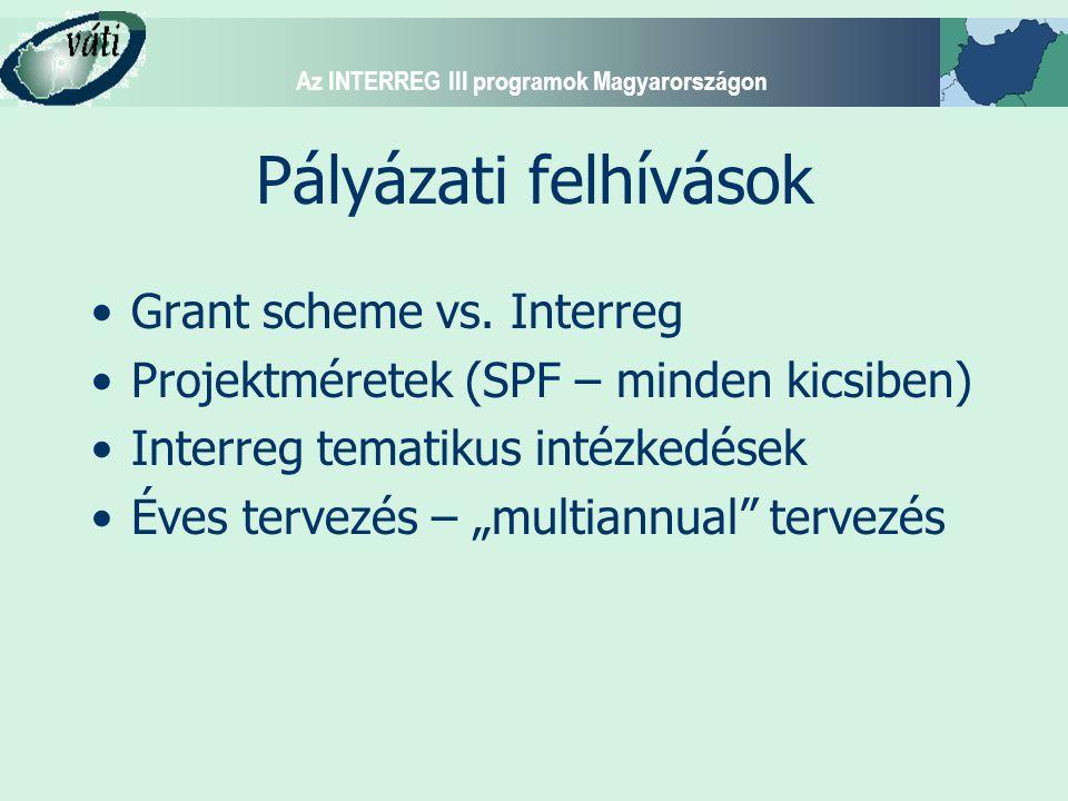 Az INTERREG III programok Magyarországon Pályázati felhívások Grant scheme vs. Interreg Projektméretek (SPF – minden kicsiben) Interreg tematikus inté