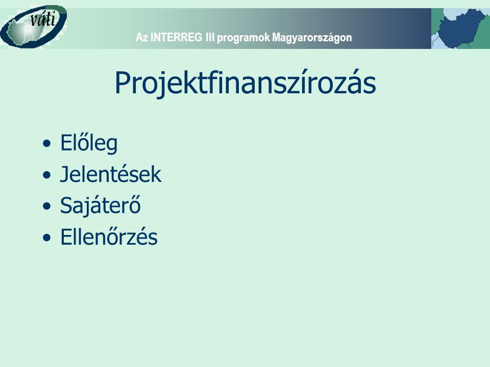 Az INTERREG III programok Magyarországon Projektfinanszírozás Előleg Jelentések Sajáterő Ellenőrzés