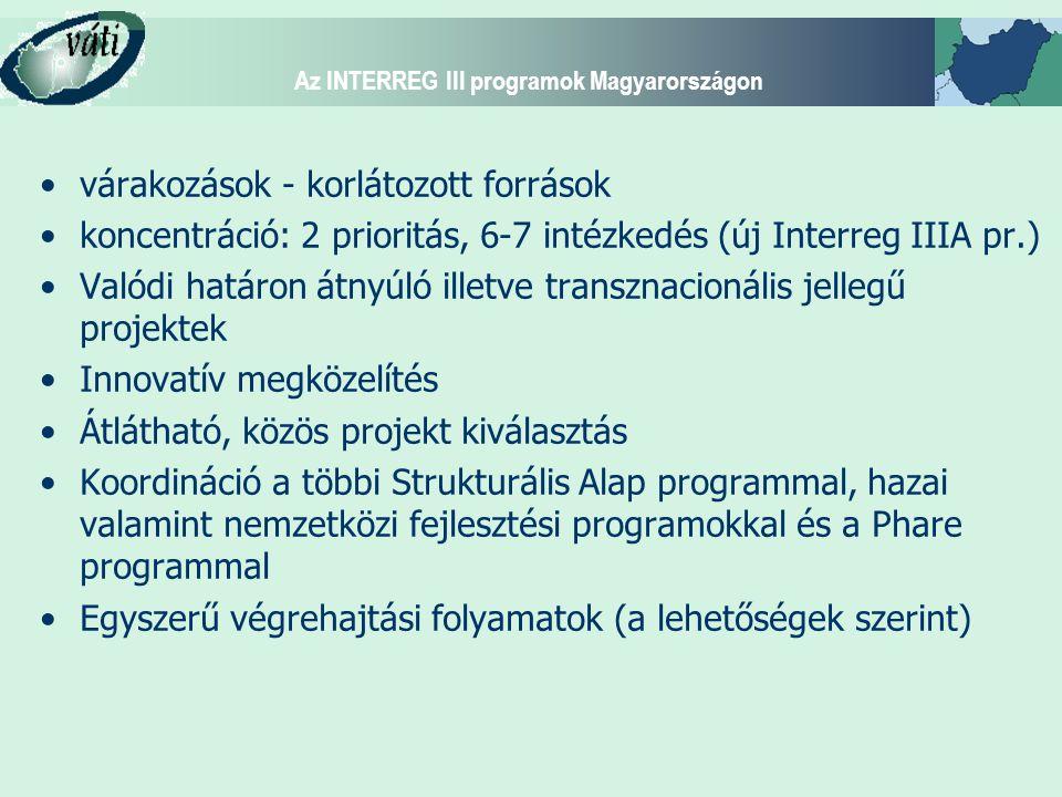 Az INTERREG III programok Magyarországon várakozások - korlátozott források koncentráció: 2 prioritás, 6-7 intézkedés (új Interreg IIIA pr.) Valódi határon átnyúló illetve transznacionális jellegű projektek Innovatív megközelítés Átlátható, közös projekt kiválasztás Koordináció a többi Strukturális Alap programmal, hazai valamint nemzetközi fejlesztési programokkal és a Phare programmal Egyszerű végrehajtási folyamatok (a lehetőségek szerint)