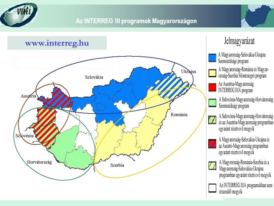 Az INTERREG III programok Magyarországon Programozási folyamat Szomszédsági Programok (2003 július) Programdokumentumok: 2003 október, 2004 március vége, 2004 szeptember Program kiegészítők: 2004 június Program szemináriumok: 2004.